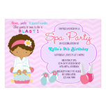 Adorable Pink Purple Spa Pampering Birthday Party Custom Invites