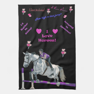 Adorable Pink & Purple Themed Horse American MoJo Tea Towel