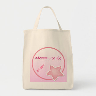 Adorable Pink Star, Baby Shower Grocery Tote Bag