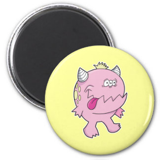 adorable pink tongue chomper monster 6 cm round magnet