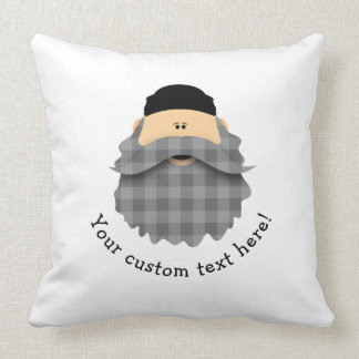 Adorable Plaid Charcoal Gray Bearded Character Cushion