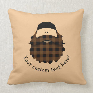 Adorable Plaid Chocolate Brown Bearded Character Cushion