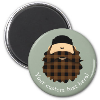 Adorable Plaid Chocolate Brown Bearded Character Magnet
