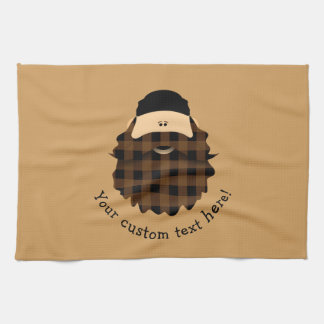 Adorable Plaid Chocolate Brown Bearded Character Tea Towel