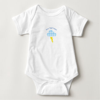 Adorable Plaid Storm Cloud and Lightning Bolt Baby Bodysuit