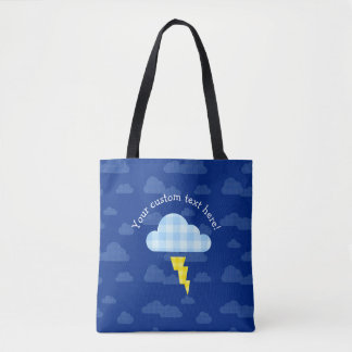 Adorable Plaid Storm Cloud and Lightning Bolt Tote Bag