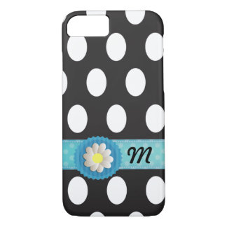 Adorable polka dots turquoise band daisy monogram iPhone 8/7 case