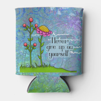 Adorable Positive Thought Doodle Flower Can Cooler