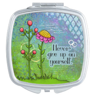 Adorable Positive Thought Doodle Flower Mirror Travel Mirror