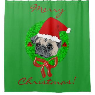 Adorable Pug Christmas Shower Curtain
