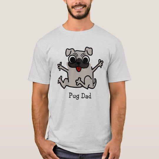 Adorable Pug Dad Cartoon Graphic T-Shirt