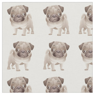 Adorable Pug Puppy on White Background Fabric