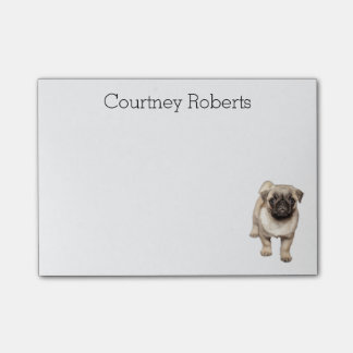 Adorable Pug Puppy with Your Name Custom Post-it Notes