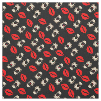 Adorable Pugs and Kisses Lip Prints and Puppies Fabric