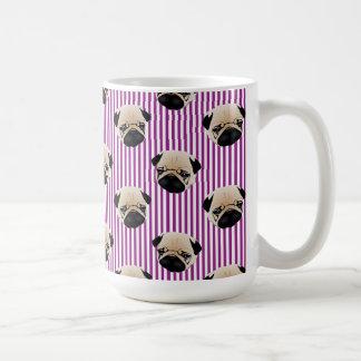 Adorable Pugs on Purple Pin Stripes Coffee Mug