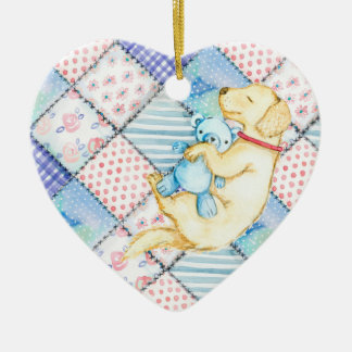 ADORABLE PUPPY, CUTE PUPPY DOG WITH TEDDY BEAR CHRISTMAS ORNAMENT