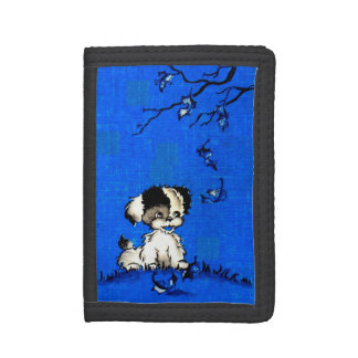 adorable puppy in autumn print trifold wallets