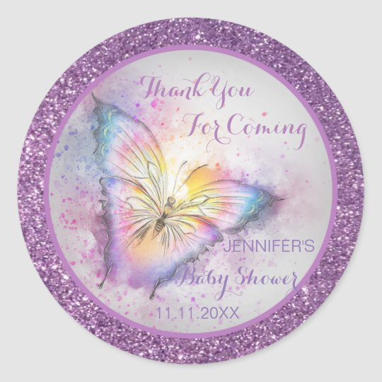 Adorable Purple Butterfly Thank You Baby Shower Classic