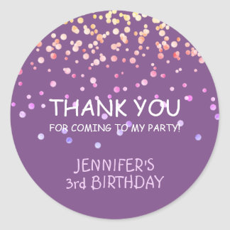 Adorable Purple Confetti Thank You Party Birthday Classic Round Sticker