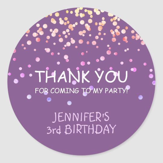 Adorable Purple Confetti Thank You Party Birthday Classic