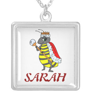 Adorable Queen Bee Cartoon Square Pendant Necklace