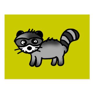 adorable raccoon animal cartoon postcard