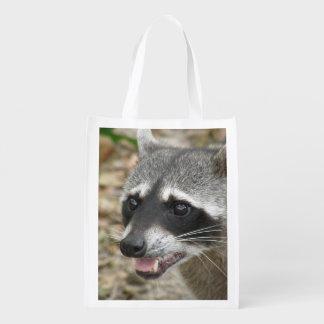 Adorable Raccoon Reusable Grocery Bag