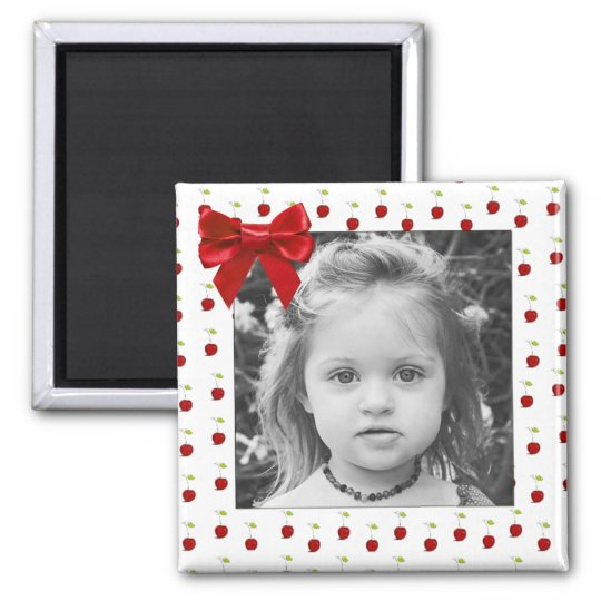 Adorable Red Cherry Photo Magnet