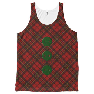 Adorable Red Christmas tartan and green buttons All-Over Print Tank Top