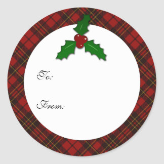 Adorable Red Christmas tartan Holly twig Gift Tag Round Sticker