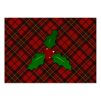 Adorable Red Christmas tartan look with Holly twig Business Card Templates