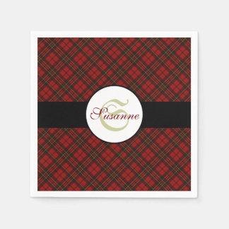 Adorable Red Christmas tartan Monogram Disposable Serviette