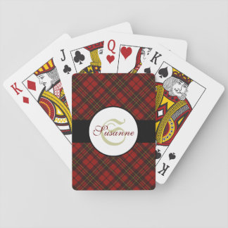 Adorable Red Christmas tartan Monogram Playing Cards