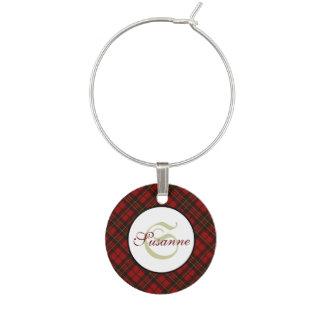 Adorable Red Christmas tartan Monogram Wine Charm