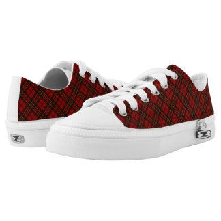 Adorable Red Christmas tartan pattern Low Tops