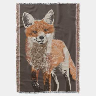 Adorable Red Fox Painting Throw Blanket