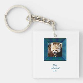 adorable red panda Single-Sided square acrylic key ring