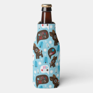 Adorable reindeer and Merry Christmas Bottle Cooler
