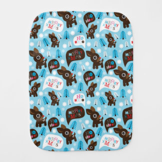 Adorable reindeer and Merry Christmas Burp Cloth