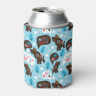 Adorable reindeer and Merry Christmas Can Cooler