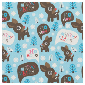 Adorable reindeer and Merry Christmas Fabric