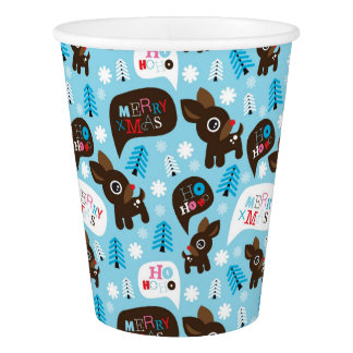 Adorable reindeer and Merry Christmas Paper Cup