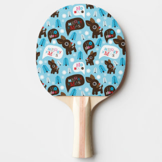 Adorable reindeer and Merry Christmas Ping Pong Paddle