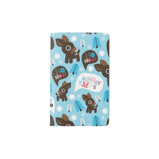 Adorable reindeer and Merry Christmas Pocket Moleskine Notebook