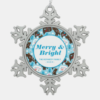 Adorable reindeer and Merry Christmas Snowflake Pewter Christmas Ornament