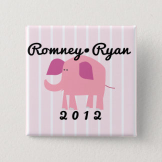 Adorable Republican Elephant, Romney/Ryan 15 Cm Square Badge