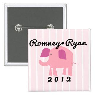 Adorable Republican Elephant, Romney/Ryan 15 Cm Square Badge