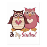 Adorable Retro Valentine Owls Tees and Gifts Postcard