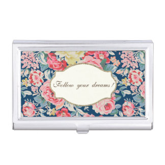 Adorable  Romantic Flowers -Motivational Message Business Card Holder