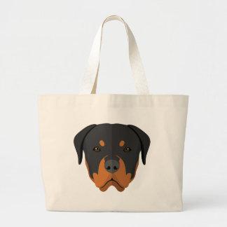Adorable Rottweiler Cartoon Large Tote Bag